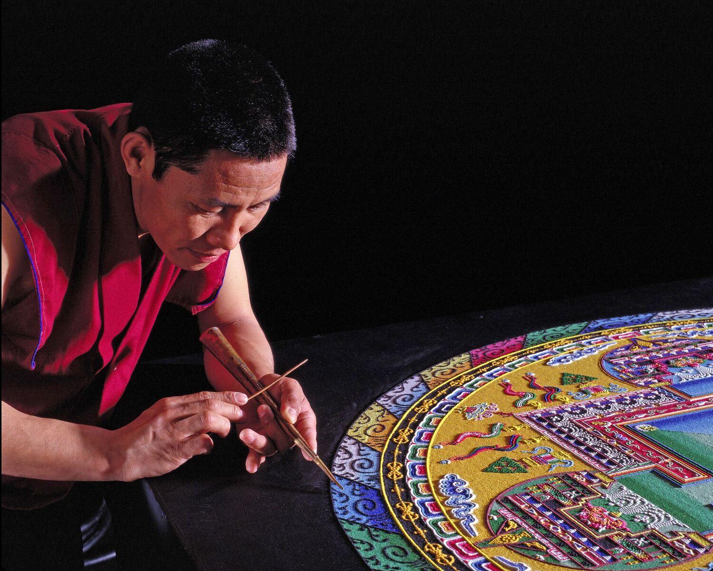 Tibetan Buddhist Monks to Construct a Mandala Sand Painting